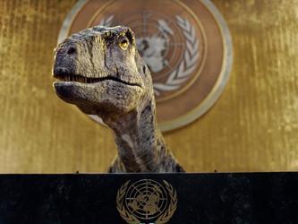 VÍDEO: Tiranossauro discursa na ONU e alerta sobre emergência climática