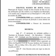 TÍTULO DE UTILIDADE PÚBLICA DE TAQUARI/RS