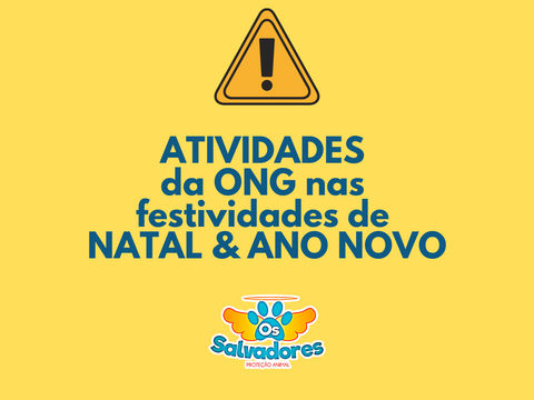 NOTA: Atividades da ONG nas festividades de NATAL E ANO NOVO