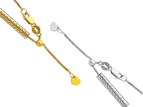 14k Yellow or White Gold 0.8-mm Wheat Chain Necklace