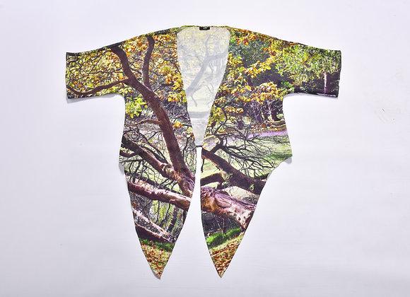 SHW01_Natural Print  Sleeve V-Neck Wrap Top