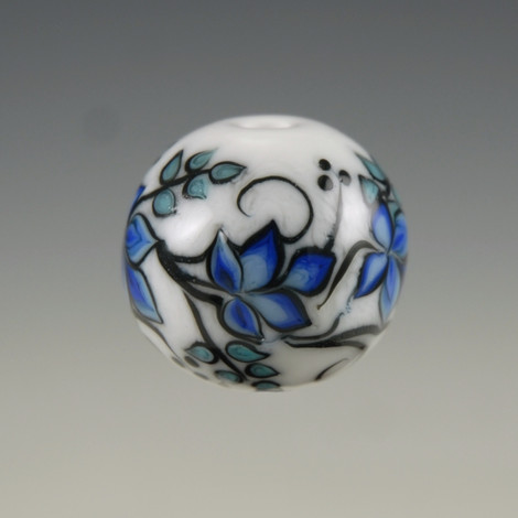 Graphic Floral Bead - Blue