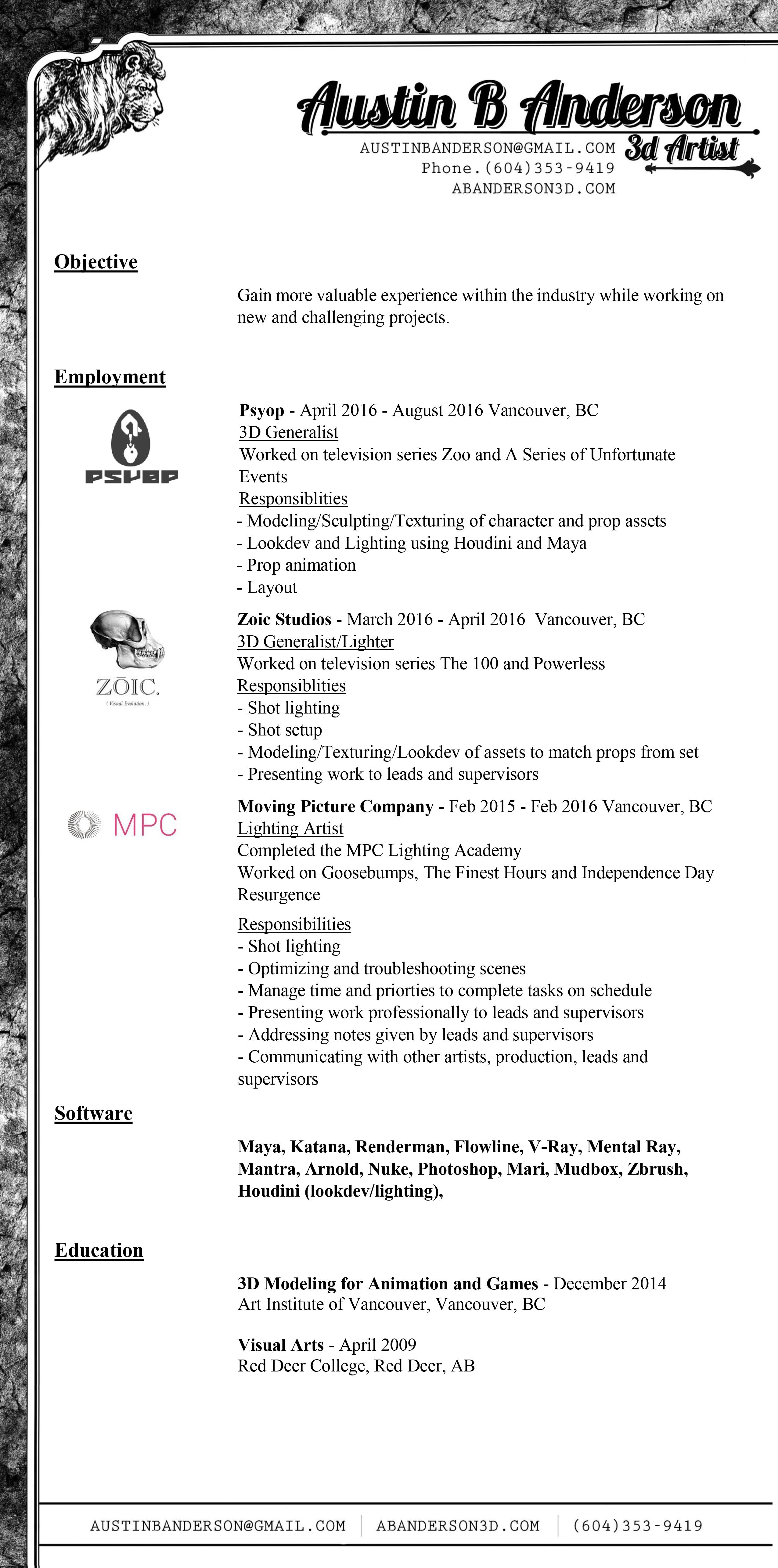 harry gundersen lighting compositing vfx engineer sample resume