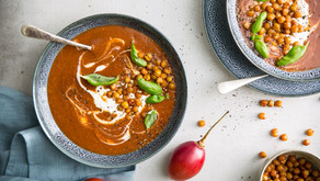 Roast Tamarillo Soup with Greek Yoghurt & Crispy Chickpea Croutons
