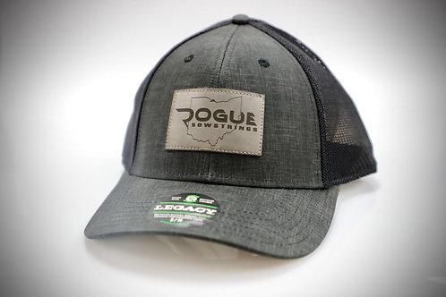 Charcoal Leather Patch Hat -  FlexFit Hat