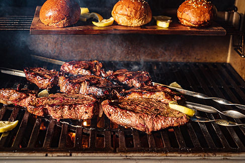chef, grill and meat for BBQ