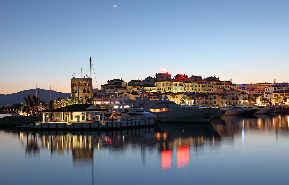 Puerto banus marina with clubs and hen parties
