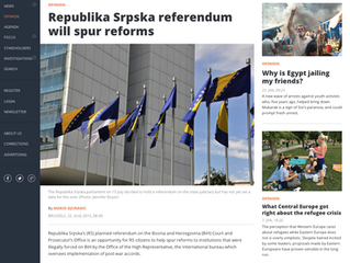 Republika Srpska referendum will spur reforms