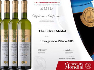 Concours Mondial de Bruxelles 2016: Wine from the Republic of Srpska won silver medal.
