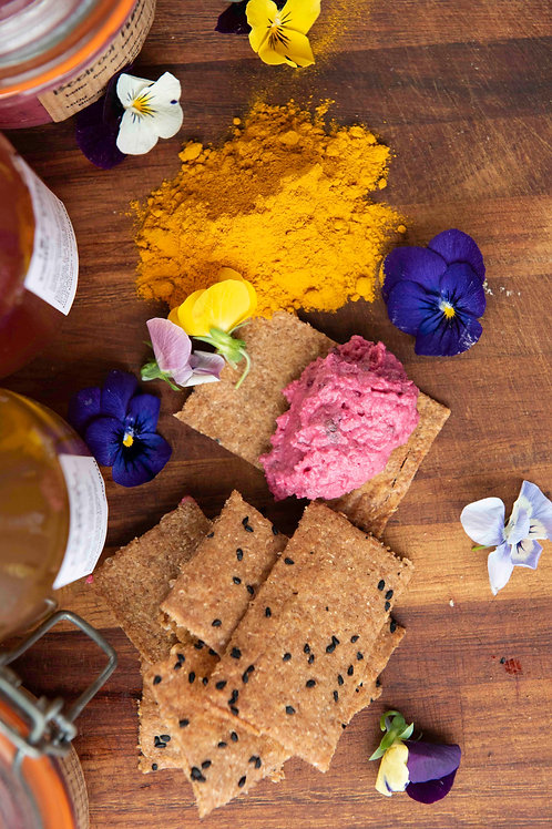 Beetroot and cumin hummus