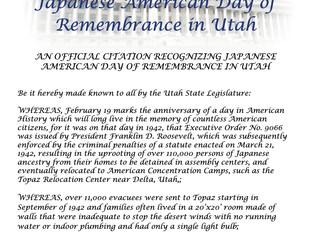 Sen. Iwamoto Presents Citation Honoring Japanese American Day of Remembrance in Utah