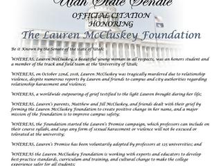 Sen. Kitchen Honors Lauren McCluskey