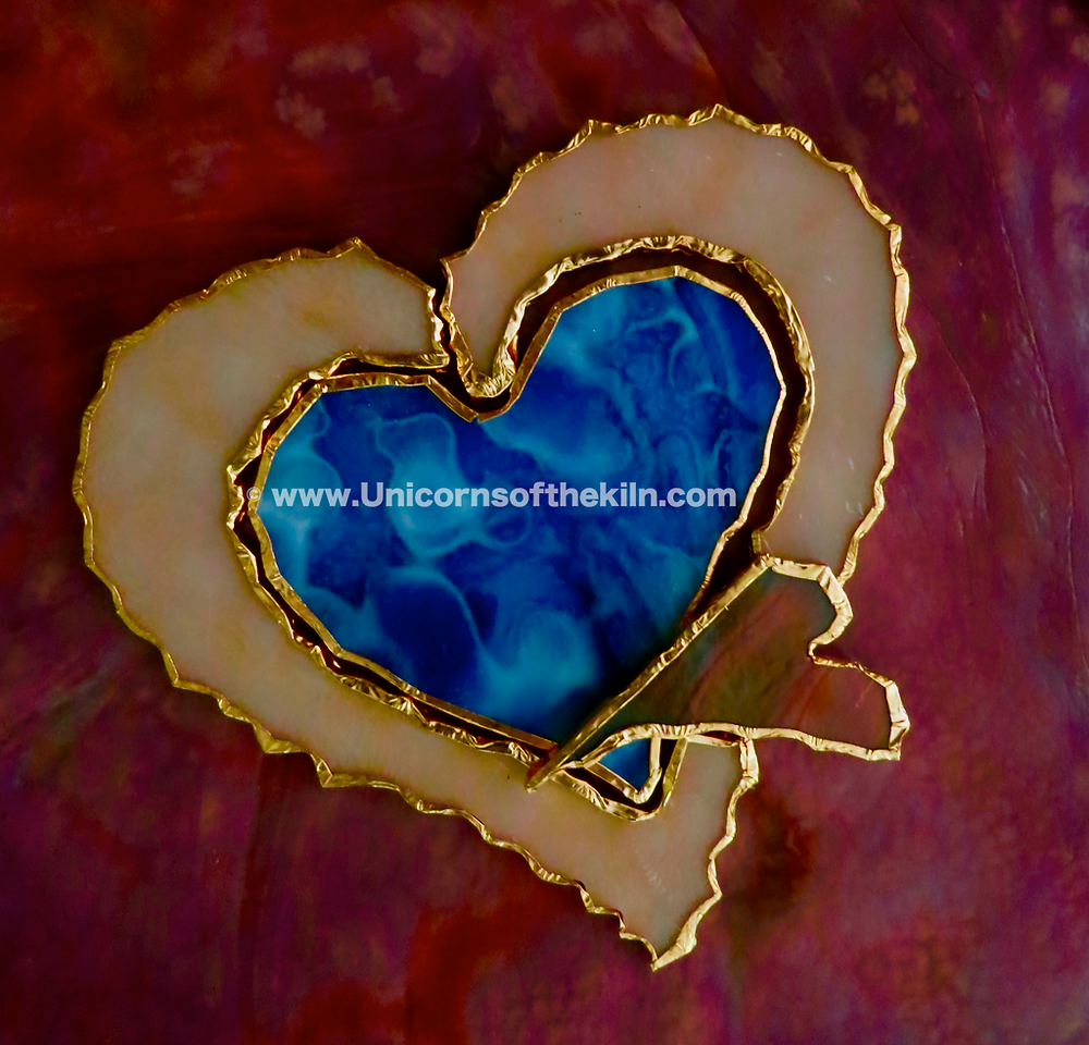 stained glass copper foiling hearts