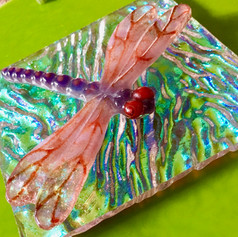 Frit casting on Iridized Glass true colors
