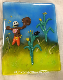 Hand crafted cornfield from glass powder