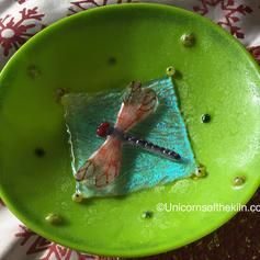 Dragonfly Bowl with iridized and frit powder crackel finish