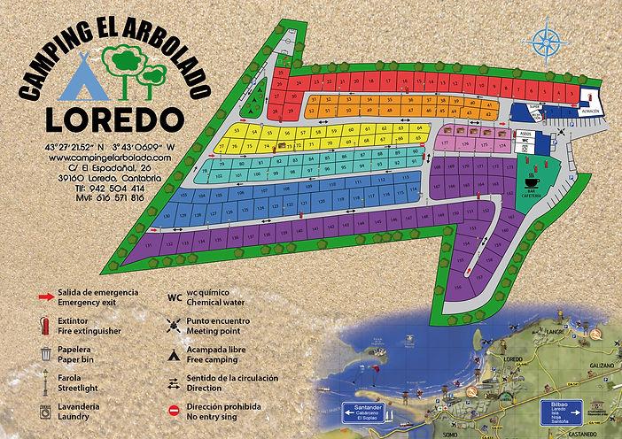 Distribución de las parcelas del Camping El Arbolado
