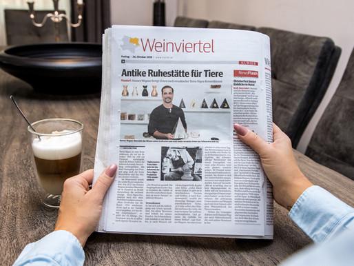 26.10.2018 - Zeitungsartikel im Kurier -Antike Ruhestätte für Tiere