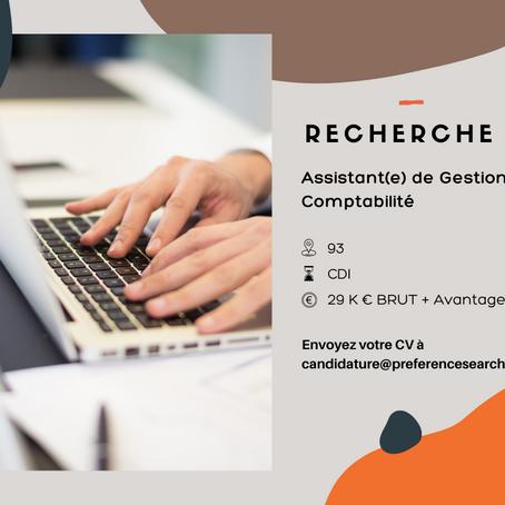 Assistant(e) de Gestion – Comptabilité (H/F)