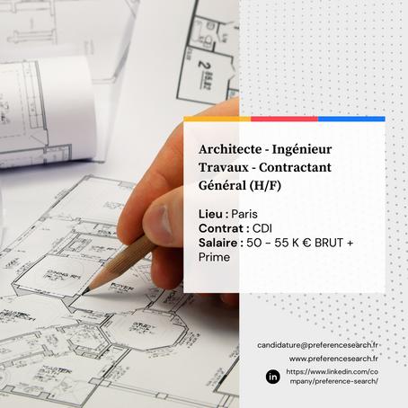 Architecte - Ingénieur Travaux (H/F)