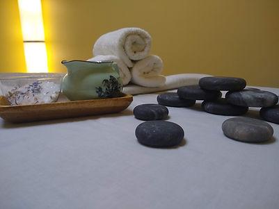hot stones, rolled spa towels, salt scrub