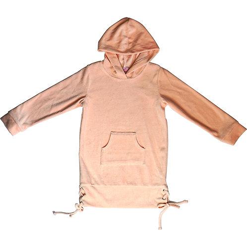 Peach hooded velour grommet bottom dress