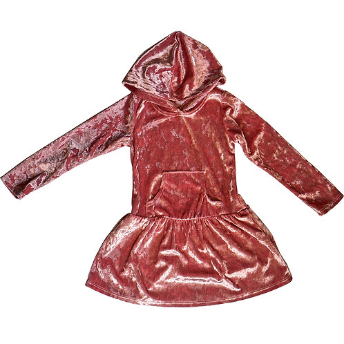 Pink crushed velvet hooded dress