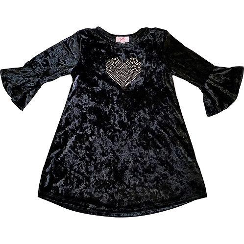 Black crushed velvet flutter sleeve dress