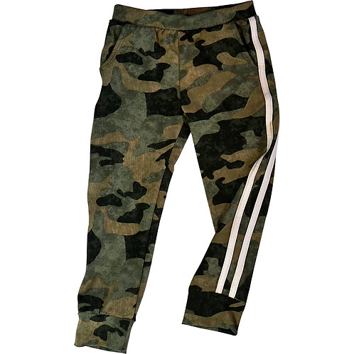 Camoflauge Jogger with white stripes