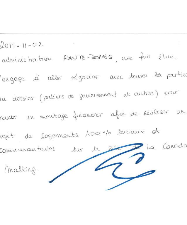 Déclaration signée par le maire du Sud-Ouest Benoit Dorais