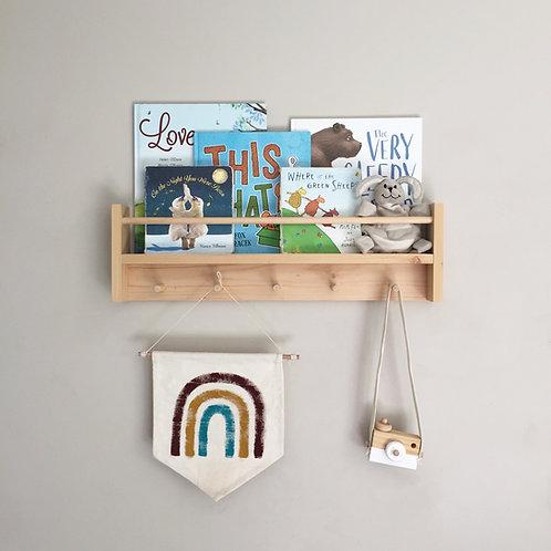 Kids Bookshelf Peg Rail