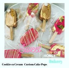 Gold & Pretty Cake Popsicles