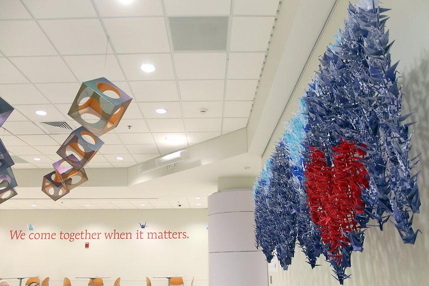 1,000 Cranes exhibit at Le Bonheur Children's Hospital by artist, Hannah Lewellen