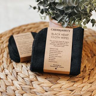 black hemp cloth wipes
