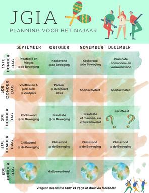 De najaarsplanning van JGiA!