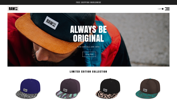Online Store website templates – Cap Hats