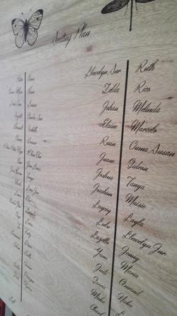 Engraved wedding seating plan