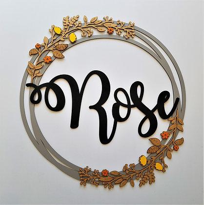 Laser Cut Name - Circle & Floral Wreath (72 cm)