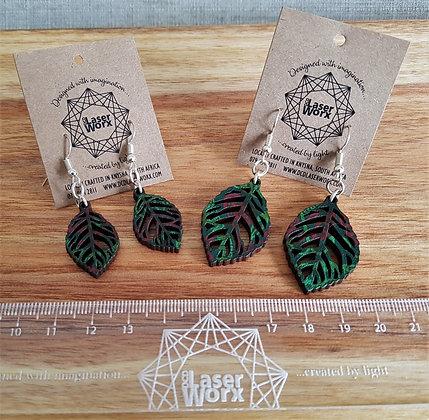 Shweshwe Leaf Earrings