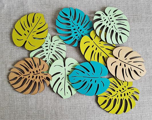 Set of Monstera Leaf Coasters