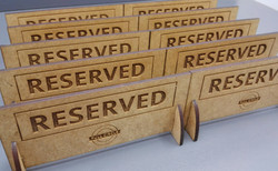 Restaurant reserved signs