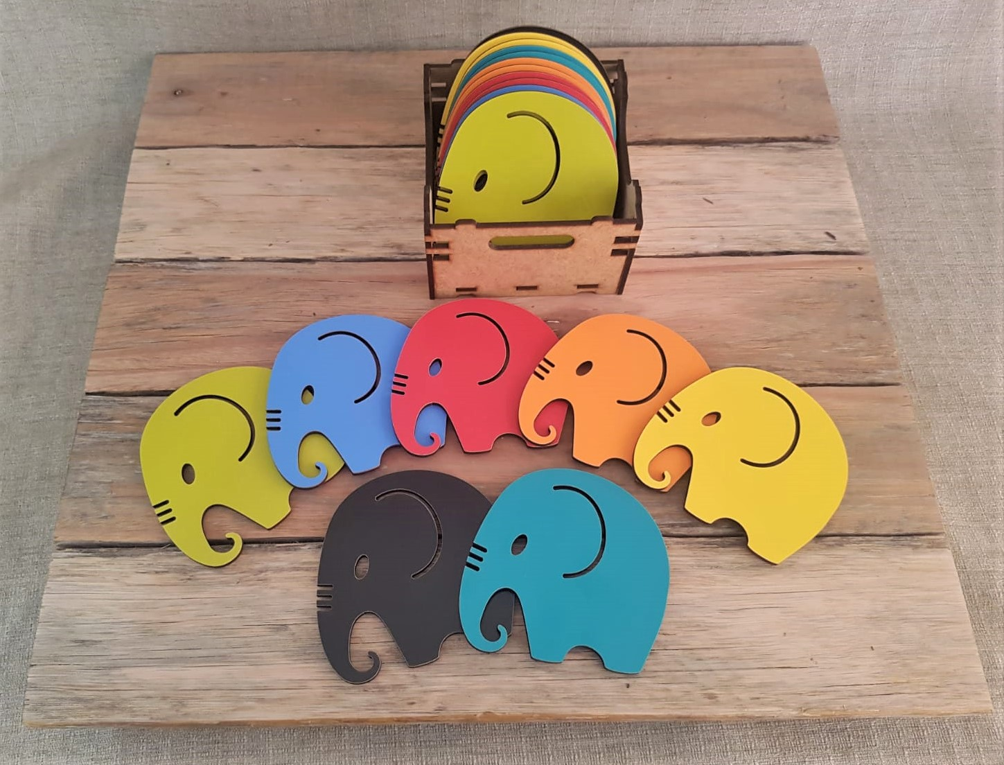 Multi coloured elephant coasters from me