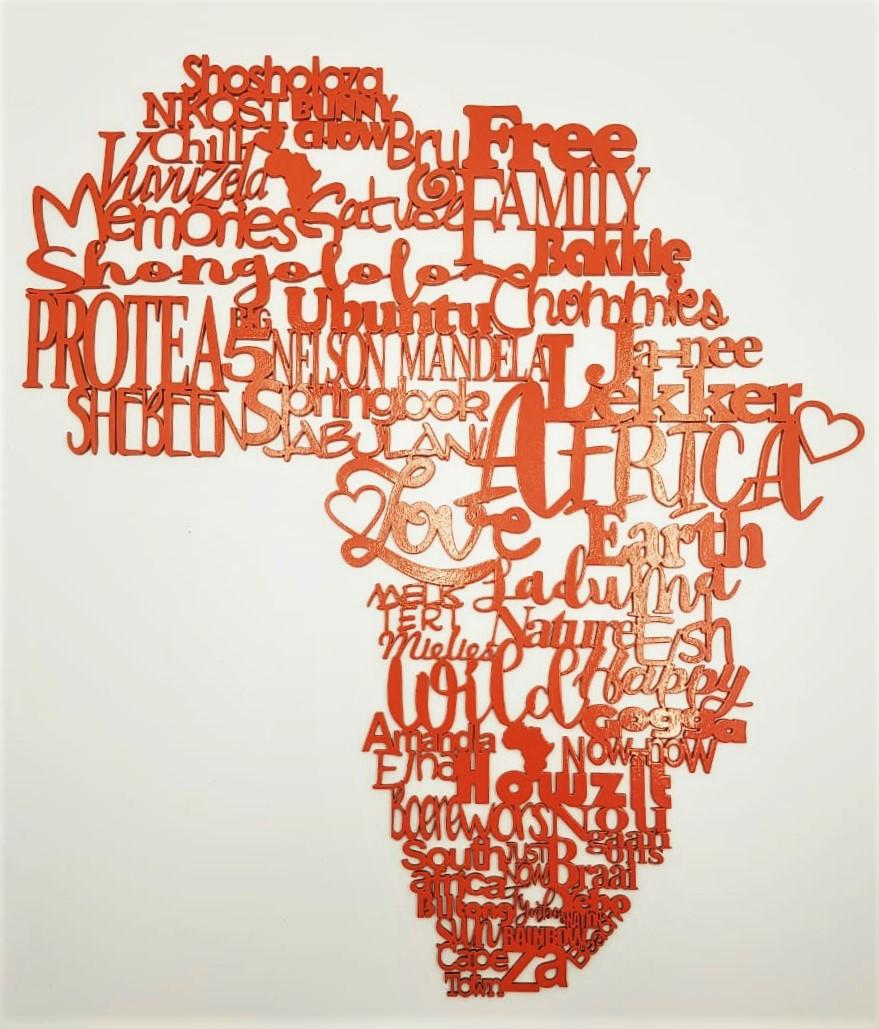Laser cut Africa 'Slang'