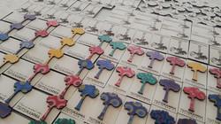 Plywood & Shweshwe magnets