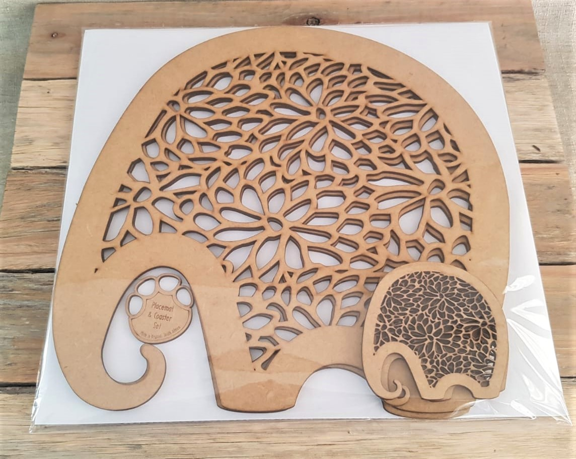 Elephant placemats and coasters with cut