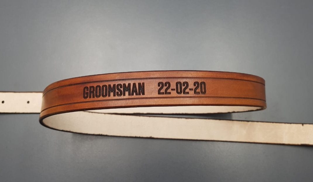 Leather belt engraved for a Wedding