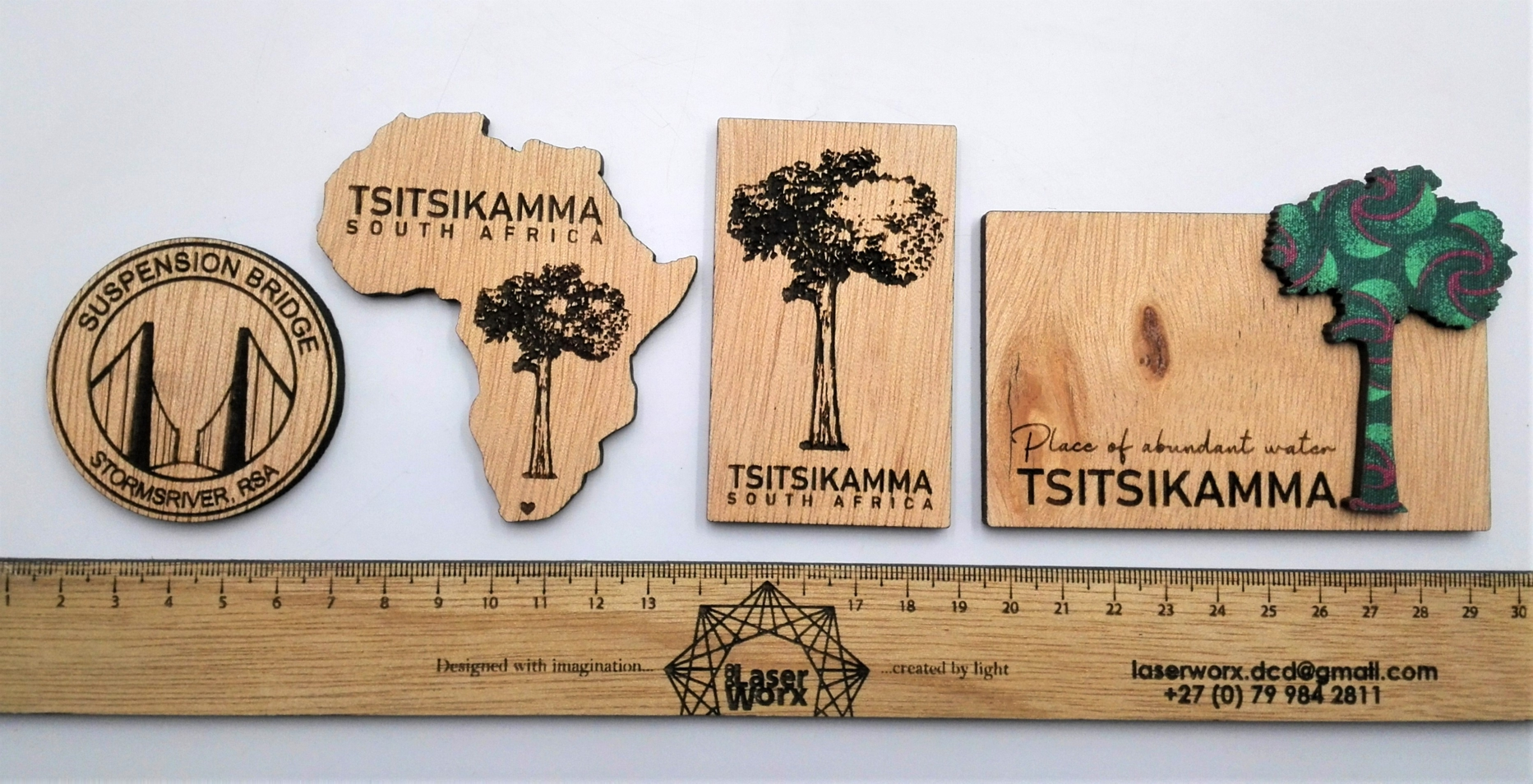 Laser engraved plywood magnets