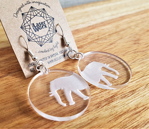 Engraved Elephant Earrings
