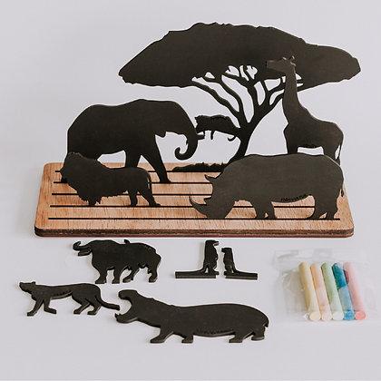 Chalkboard Silhouette Scene - African Animals