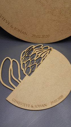 Protea cut outs to be used as wedding guest books